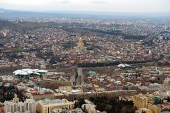 Вид с воздуха в центре  Тбилиси стоковые изображения