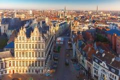 Вид с воздуха Гента от колокольни, Бельгии Стоковые Изображения