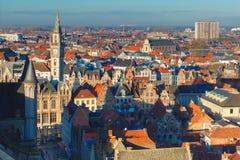 Вид с воздуха Гента от колокольни, Бельгии Стоковое Изображение RF