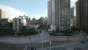Вид с воздуха горизонта и улицы Нью-Йорка Манхаттана акции видеоматериалы