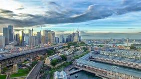Вид с воздуха горизонта Сиднея, Нового Уэльса, Австралии Стоковая Фотография