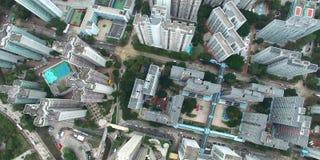 Вид с воздуха горизонта smokey Гонконга сток-видео