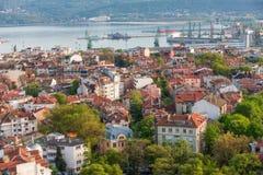 Вид с воздуха города Варны, Болгарии Стоковое фото RF