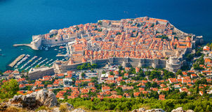 Вид с воздуха городка Дубровника средневекового старого стоковая фотография rf