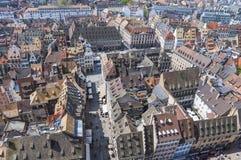 Вид с воздуха городка страсбурга старого, Эльзаса, Франции Стоковые Фото