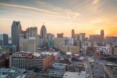 Вид с воздуха городского Детройта на сумерк Стоковая Фотография