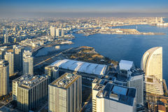Вид с воздуха городского пейзажа Иокогама на портовом районе dis Minato Mirai Стоковые Фотографии RF
