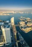 Вид с воздуха городского пейзажа Иокогама на портовом районе dis Minato Mirai Стоковое фото RF