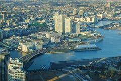 Вид с воздуха городского пейзажа Иокогама на портовом районе dis Minato Mirai Стоковое Изображение