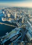 Вид с воздуха городского пейзажа Иокогама на портовом районе Minato Mirai Стоковые Фото