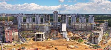 Вид с воздуха, городской пейзаж Минска, Беларуси Конструкция новая высокой Стоковое Изображение
