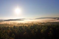 Вид с воздуха горячего воздушного шара плавая над стороной страны Вермонта Стоковое фото RF