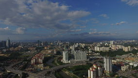 Вид с воздуха голубого неба на районе центра города города Стоковое Изображение