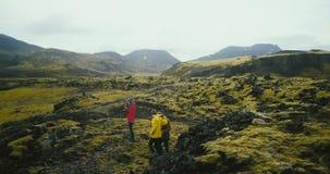 Вид с воздуха группы в составе туристы на полях лавы в Исландии Фотограф женщины держа камеру, ждать друзей сток-видео