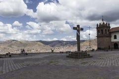 Вид с воздуха главной площади в столице Incas, Cusco, p стоковое фото