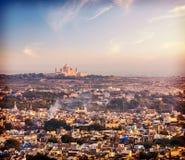 Вид с воздуха Джодхпура - голубого города. Раджастхан Стоковое Изображение