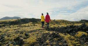 Вид с воздуха женщины 2 идя на поле лавы в Исландии Пеший туризм туристов женский на горах покрыл мох сток-видео