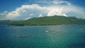Вид с воздуха залива Мали Ston видеоматериал
