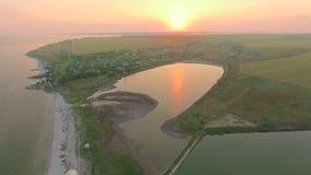 Вид с воздуха залива около моря и озера видеоматериал