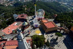 Вид с воздуха зданий на горе Tibidabo Стоковые Изображения