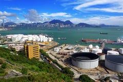 Вид с воздуха индустриальной зоны нефти стоковое фото