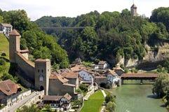 Вид с воздуха исторического центра города, города Fribourg Стоковое фото RF