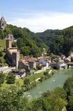 Вид с воздуха исторического центра города, города Fribourg Стоковое Фото