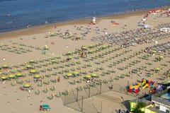 Вид с воздуха Италия пляжа Римини Стоковые Изображения RF
