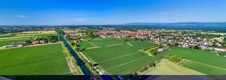 Вид с воздуха канала Роны - Рейна в Эльзасе, Франции Стоковые Фотографии RF