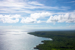 Вид с воздуха карибской береговой линии от вертолета, Доминиканской Республики Стоковая Фотография
