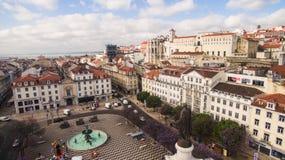 Вид с воздуха квадрата Dom Педра IV в Rossio, Лиссабоне, Португалии, мае 2016 Стоковые Изображения RF