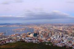 Вид с воздуха Кейптауна от холма сигнала, Южной Африки Стоковая Фотография