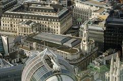 Вид с воздуха Королевской биржи, Лондон Стоковые Изображения