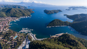 Вид с воздуха Марины, Gocek, Fethiye, Турции Стоковое фото RF