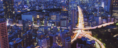 Вид с воздуха массивнейшего пересечения города Стоковые Фотографии RF