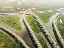 Вид с воздуха межгосударственные 10 около Нового Орлеана Стоковое фото RF