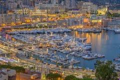 Вид с воздуха Монако сразу после захода солнца Стоковая Фотография RF