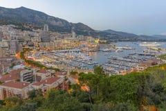 Вид с воздуха Монако сразу после захода солнца Стоковое Фото