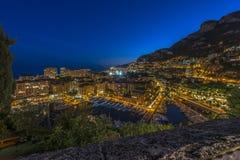 Вид с воздуха Монако сразу после захода солнца Стоковая Фотография