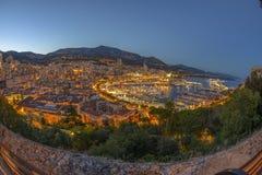 Вид с воздуха Монако сразу после захода солнца Стоковое Изображение RF