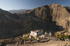Вид с воздуха монастыря Lamayuru budhist, Ladakh, Индии Стоковые Изображения RF