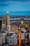 Вид с воздуха Монреаля на сумраке Стоковые Фотографии RF