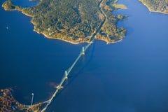 Вид с воздуха моста к югу от национального парка Acadia, Мейна Стоковые Изображения RF