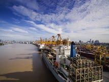 Вид с воздуха над верфью Бангкока Стоковое фото RF