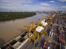 Вид с воздуха над верфью Бангкока Стоковые Изображения