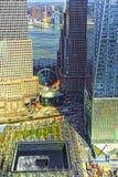 Вид с воздуха на национальном мемориале 11-ое сентября финансового района Стоковое Изображение
