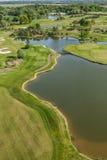 Вид с воздуха над полем гольфа Стоковая Фотография