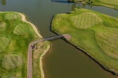 Вид с воздуха над полем гольфа Стоковая Фотография RF