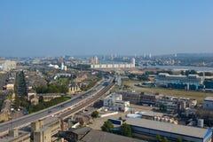 Вид с воздуха над районами доков, Лондон, Англия Стоковое фото RF