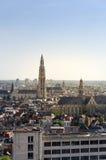 Вид с воздуха на соборе нашей дамы и церков St Paul в Антверпене Стоковая Фотография